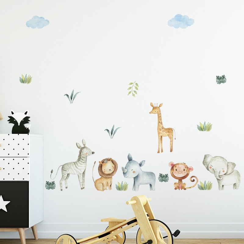 Watercolor Safari Wall Decal Nursery Wall Stickers - Just Kidding Store