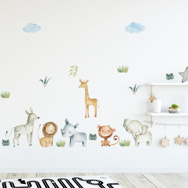 Watercolor Safari Wall Decal