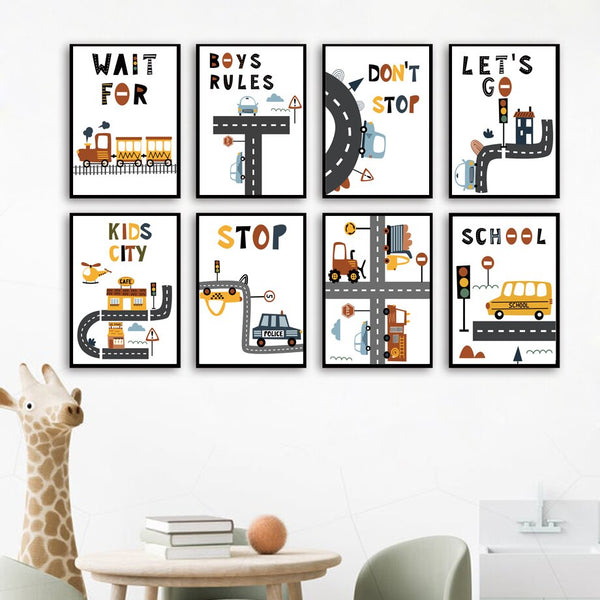 Kids Drivers Club Canvas Wall Art Nursery Prints - Just Kidding Store