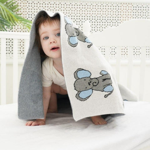 Little Monkey Cotton Knitted Blanket