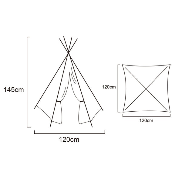 Four Poles Teepee -  Kids Indian Play Tent - White - Blue - Pink