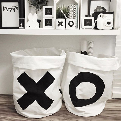 Folding Cotton Canvas Storage Bag - Nordic Style XX OO - Just Kidding Store