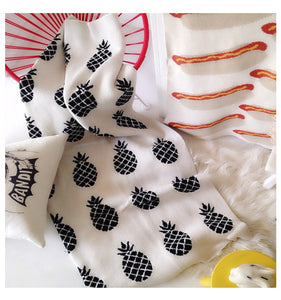 Black and White Pineapple Cotton Knitted Blanket - Just Kidding Store