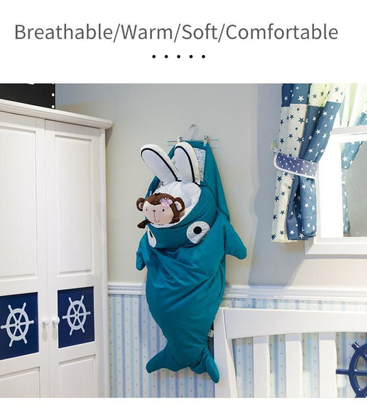 Children Sleeping Bag - Kids Sleep Sack - Comfy Shark Turquoise