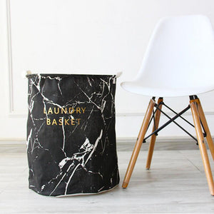 Marble Laundry Baskets - Black-White-Gray Hamper - Just Kidding Store