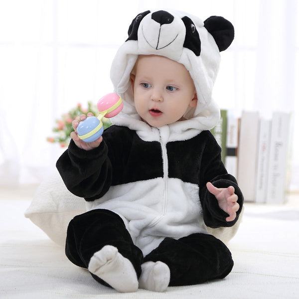Hooded Flannel Romper Jumpsuit - Panda - Just Kidding Store