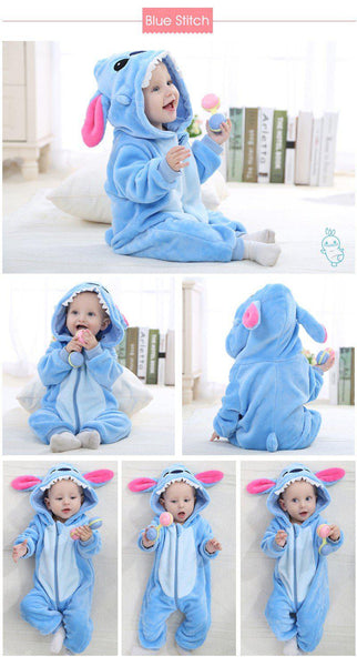 Hooded Flannel Romper Jumpsuit - Blue Stitch - Just Kidding Store