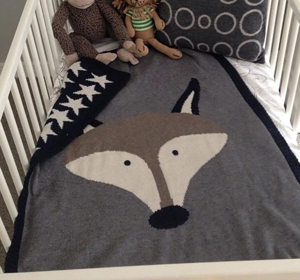 Kids Cotton Knitted Blanket  - Reversible Throw Blanket - Fox