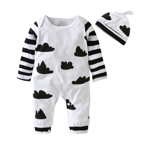 Black Clouds Baby Cotton Romper Trendy Sleepwear - Just Kidding Store