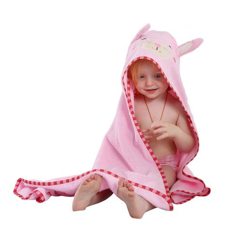 Cotton Hooded Bath Towel - Pink Rabbit - Just Kidding