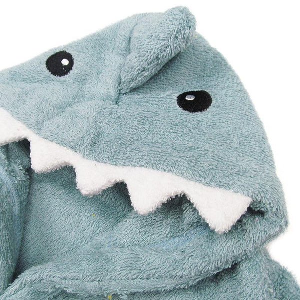Baby Hooded Bathrobe - Terry Towel - Blue Shark - Just Kidding