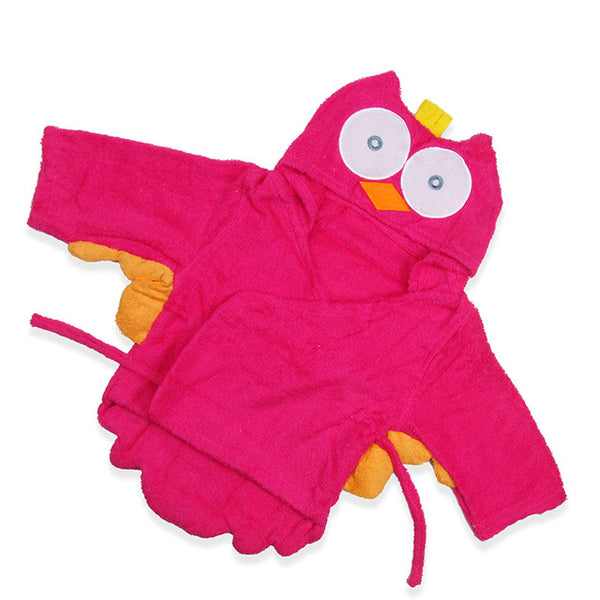 Baby Hooded Bathrobe - Red Owl - Just Kidding Store