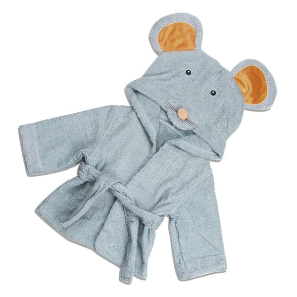 Baby Hooded Bathrobe - Blue Gray Mouse - Just Kidding Store
