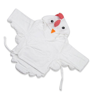 Baby Hooded Bathrobe - Terry Towel - White Chick - Just Kidding