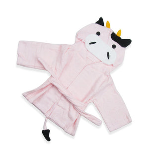 Baby Hooded Bathrobe - Terry Towel - Pink Cow - Just Kidding