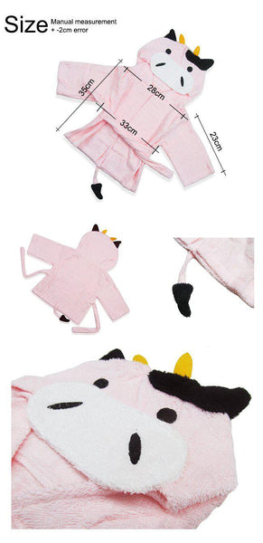 Baby Hooded Bathrobe - Terry Towel - Cow - Just Kidding