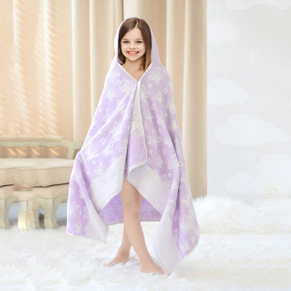 Cotton Bath Towel - Children's Bath Wrap - Violet - Just Kidding Store