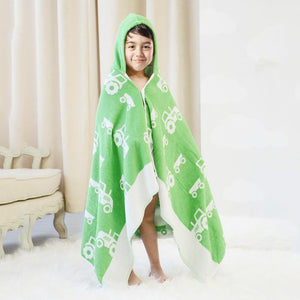 Cotton Bath Towel - Children's Bath Wrap - Green - Just Kidding Store