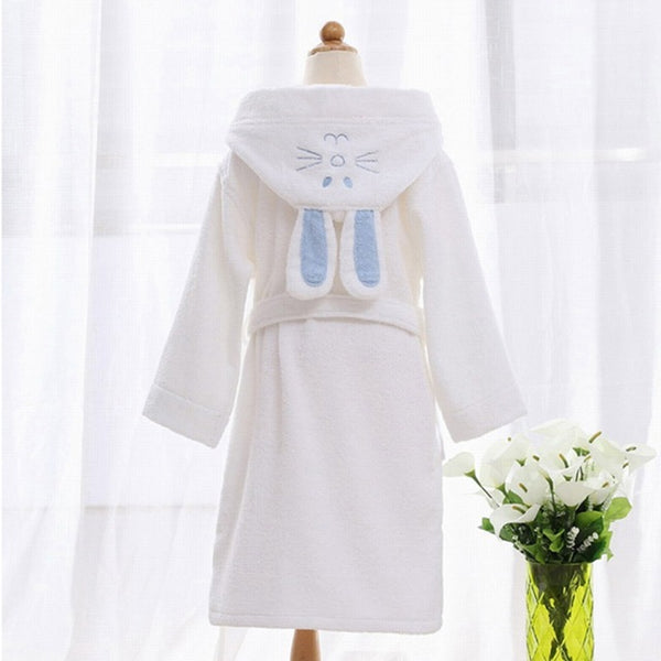 White Bunny Ears Kids Bathrobe Gown - Just Kidding Store