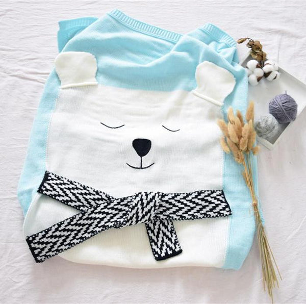 Soft Knitted Cute Bear Baby Kids Blanket - Just Kidding Store