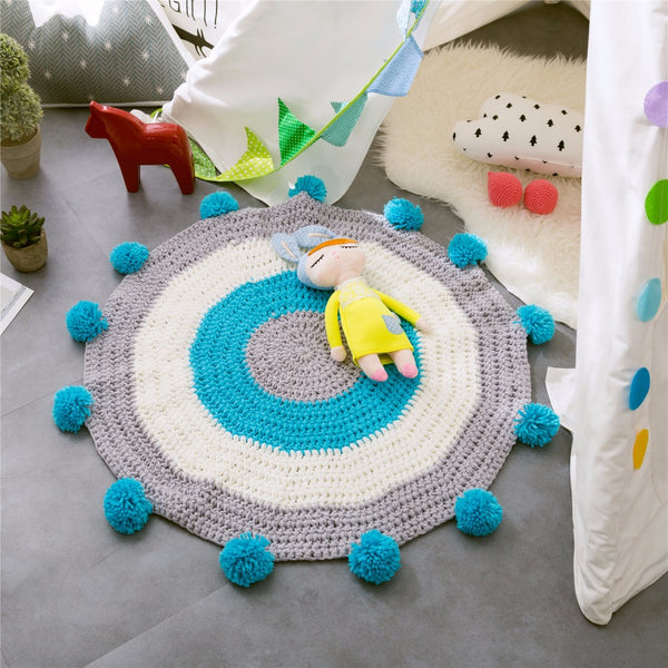 Hand Made Round Floor Kids Play Mat - Pop Pom Carpet - Just Kidding St...