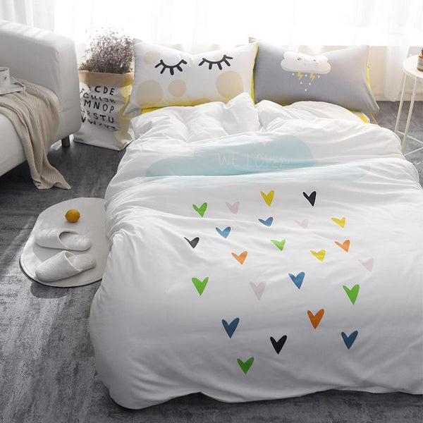 All Over Hearts Kids and Teens Bedding Set - Just Kidding Store