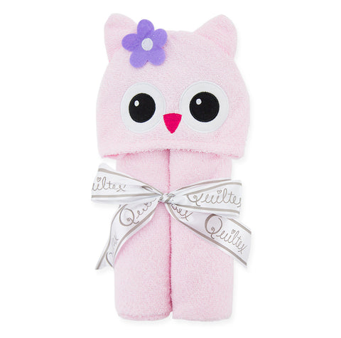 Animal Design Cotton Terry Hooded Towel - Pink Cat - Just Kidding