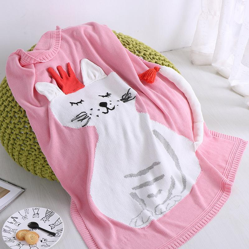 Pure Cotton Blanket - White Cat - Just Kidding Store