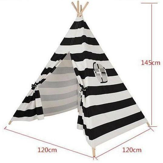 Black and White Striped Teepee - Kids Indian Play Tent