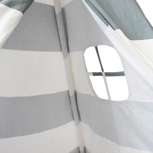 Gray Striped TeePee - Indian Cotton Canvas Play Tent