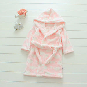 Plush Hooded Bathrobe - Kids Fleece Nightgown - Pink Cloud - Just Kidding