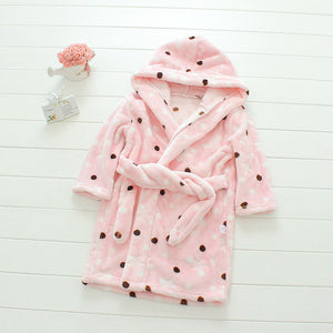 Plush Hooded Bathrobe - Kids Fleece Nightgown - Pink Dots - Just Kidding