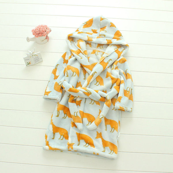 Plush Hooded Bathrobe - Kids Fleece Nightgown - Fox - Just Kidding