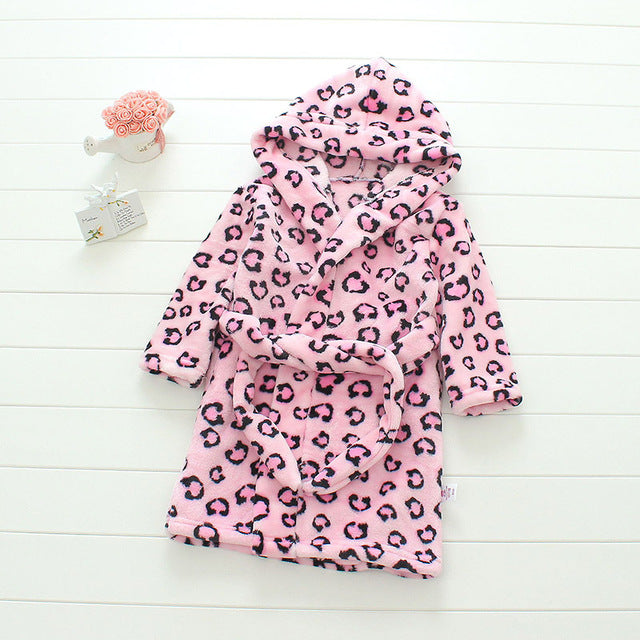 Plush Hooded Bathrobe - Kids Fleece Nightgown - Pink Leopard - Just Kidding