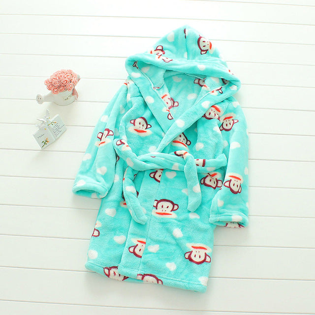 Plush Hooded Bathrobe - Kids Fleece Nightgown - Monkey - Just Kidding