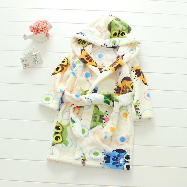 Plush Hooded Bathrobe - Kids Fleece Nightgown - Owl - Just Kidding