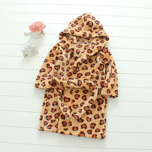 Plush Hooded Bathrobe - Kids Fleece Nightgown - Leopard - Just Kidding