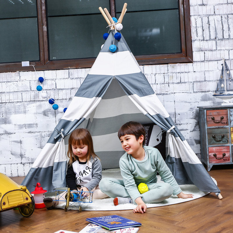 Gray Striped TeePee - Indian Cotton Canvas Play Tent - Just Kidding Store