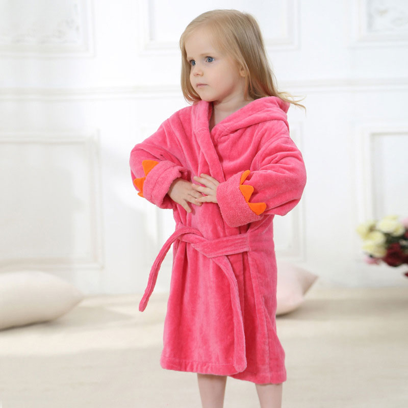 Velvet Hooded Kids Bath Robe - Red Dinosaur