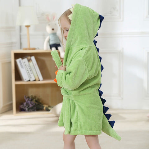 Velvet Hooded Kids Bath Robe - Light Green Dinosaur - Just Kidding Store