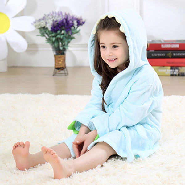 Velvet Hooded Kids Bath Robe - Light Blue Dinosaur
