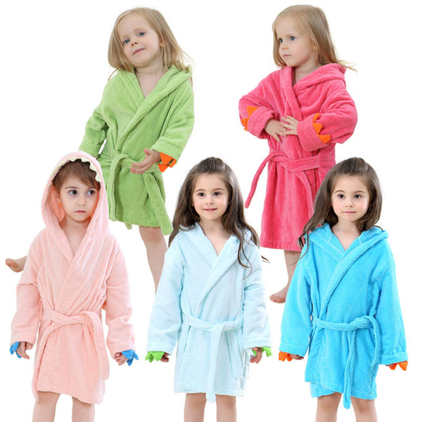 Velvet Hooded Kids Bath Robe -Dinosaur - Just Kidding Store