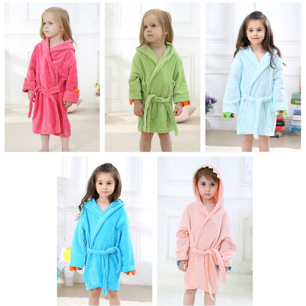 Velvet Hooded Kids Bath Robe - Dinosaur