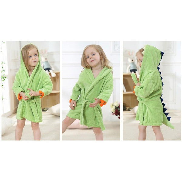 Velvet Hooded Kids Bath Robe - Light Green Dinosaur