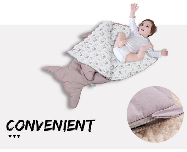 Taupe Baby Shark Sleeping Bag - Stroller Sack