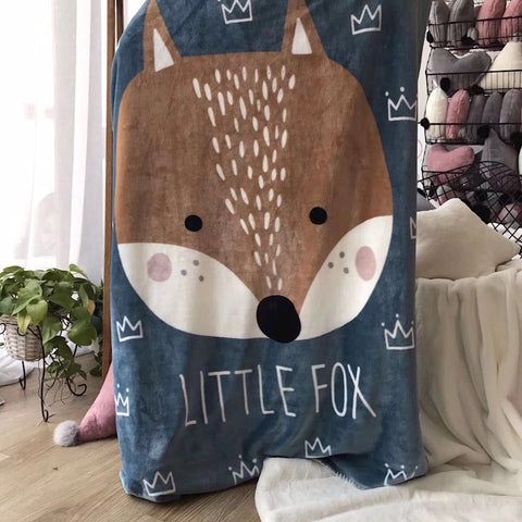 Little Fox Fleece Blanket - Kids Bedding Throw - Just Kidding