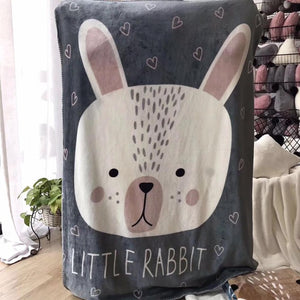 Little Rabbit Fleece Blanket - Kids Bedding Throw - Just Kidding