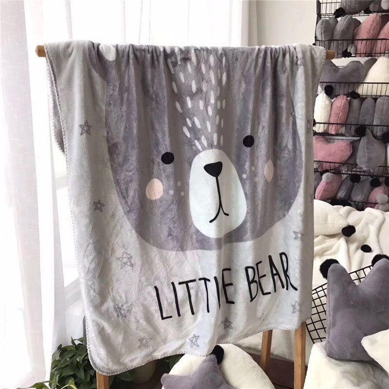 Little Bear Fleece Blanket - Kids Bedding Throw - Just Kidding
