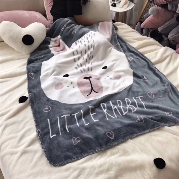 babies and kids bathrobes - Just Little Rabbit Fleece Blanket - Kids Bedding Throw