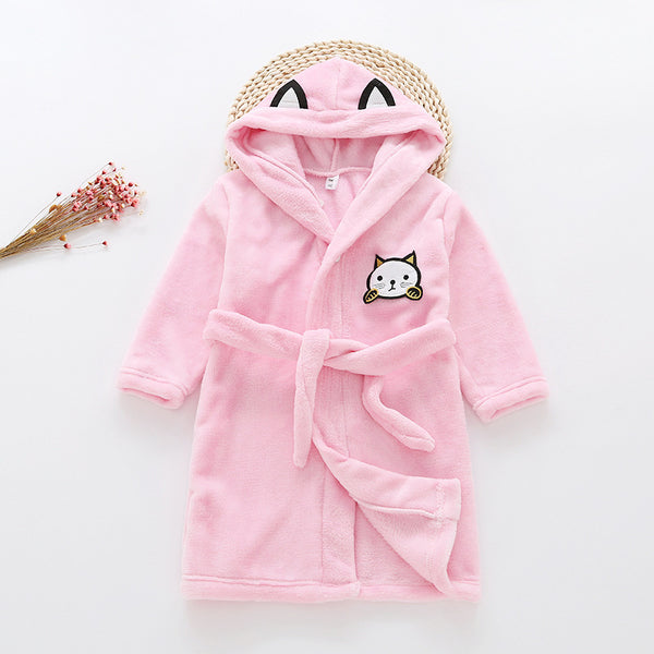 Flannel Bathrobe Night Gown - Kawaii Kitty Pink - Just Kidding